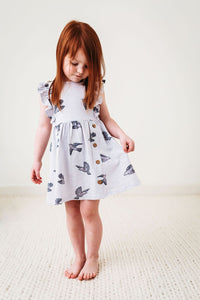 City Mouse Bird Flutter Button Dress