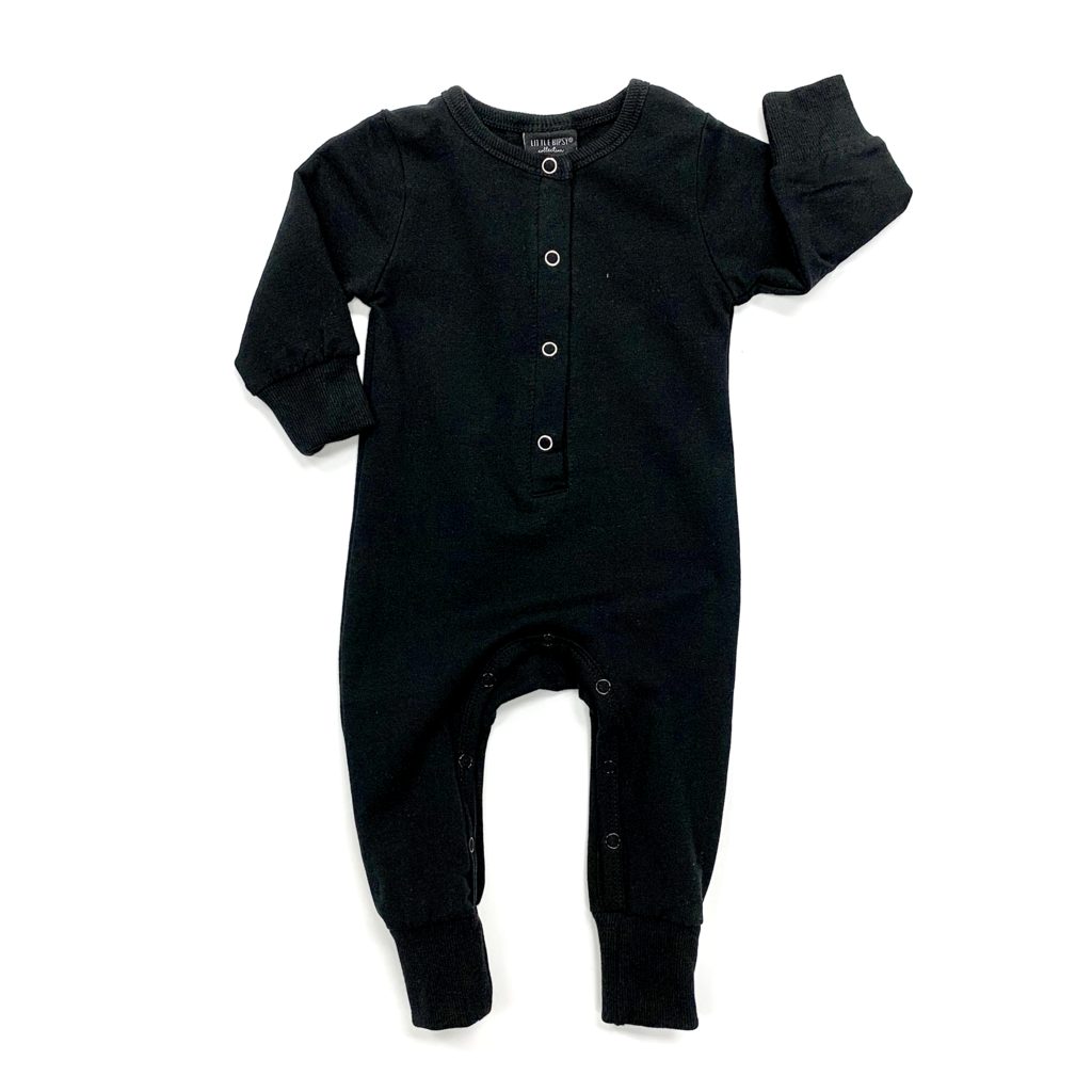 Little Bipsy Long Sleeve Classic Snap Romper - Black
