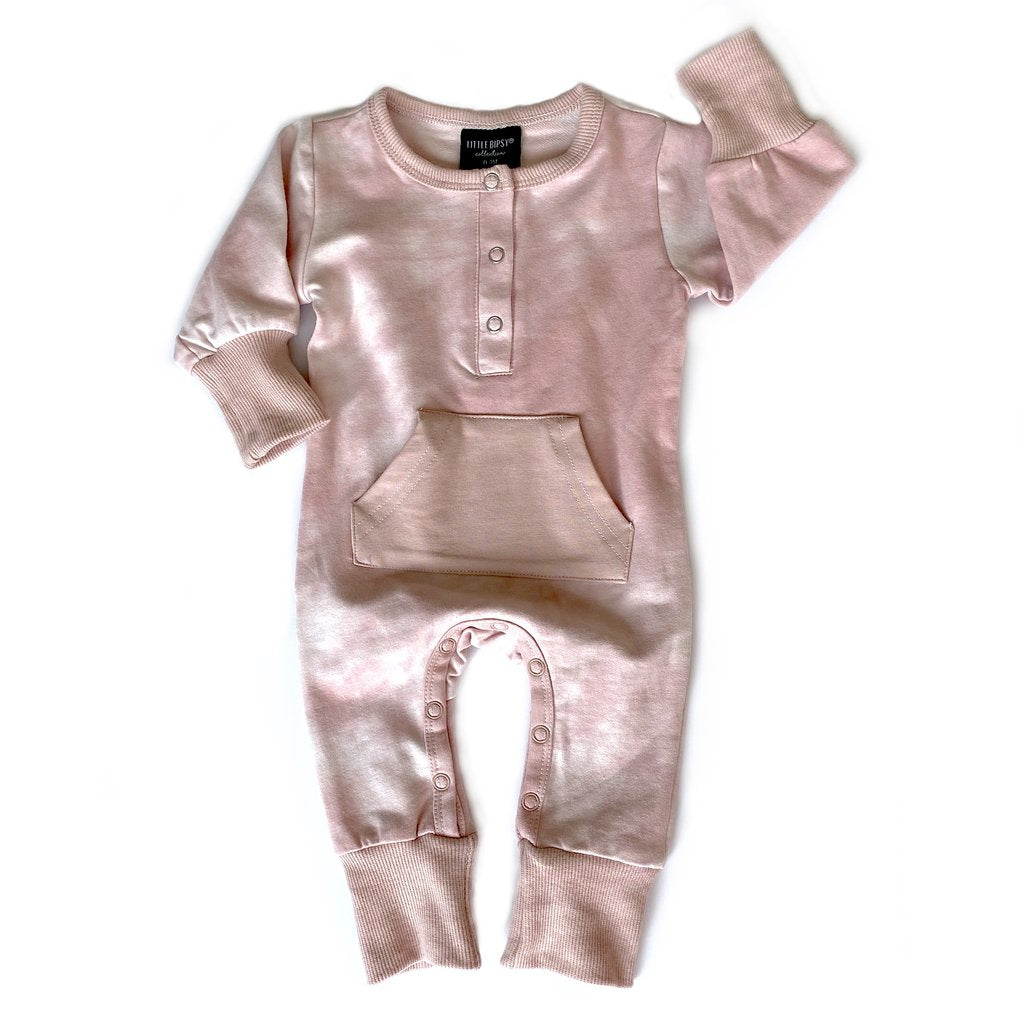 Little Bipsy Long Sleeve Classic Snap Romper - Blush Tie-Dye
