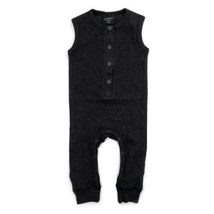 Little Bipsy Ribbed Sleeveless Romper - Black