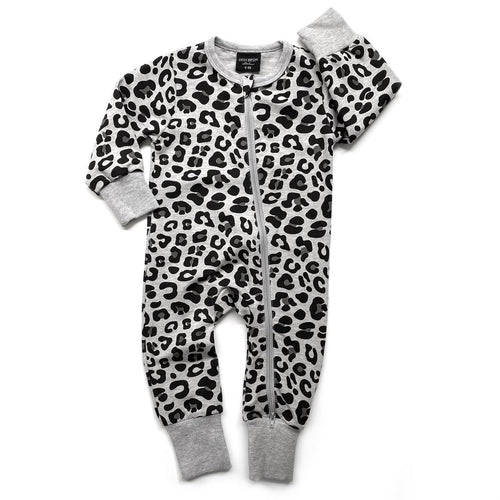 Little Bipsy 2-Way Zip Romper - Grey Leopard