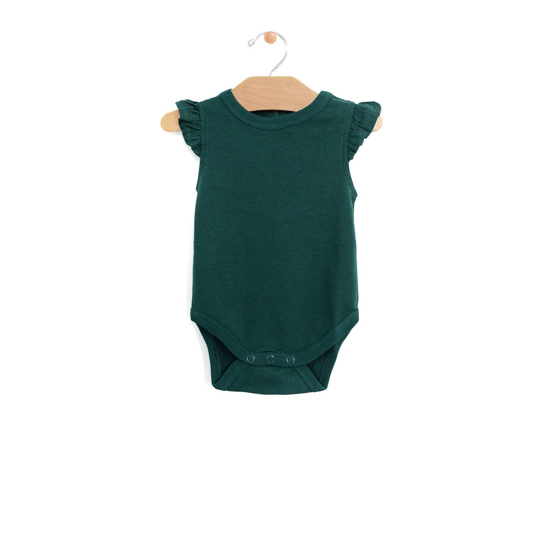 City Mouse Emerald Ruffle Shoulder Onesie