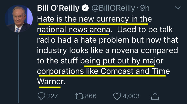 Bill O'Reilly - Hate, the New Currency of News Arena