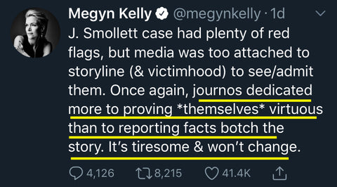 Megyn Kelly laments journalists reporting narrative over facts.