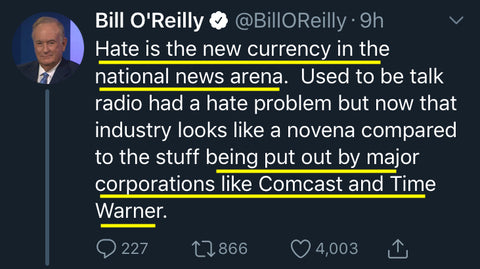 Bill O'Reilly - Hate, New Currency of News Arena
