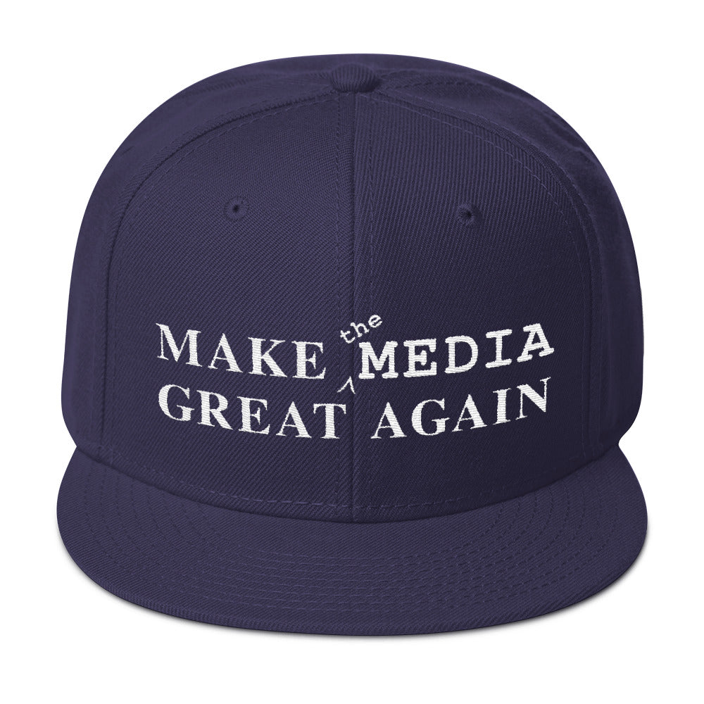 Make the Media Great Again - Wool Snapback, Navy Blue