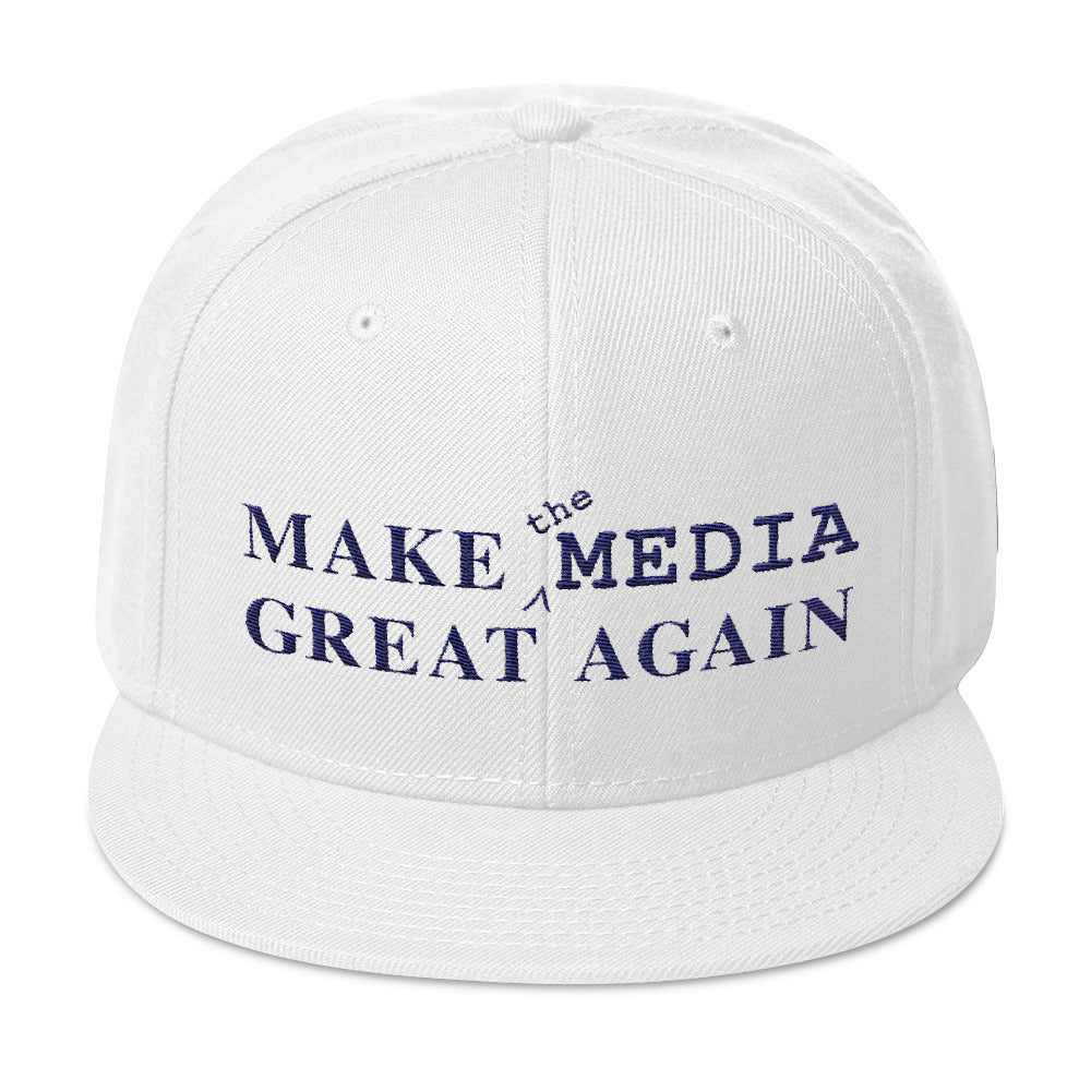 Make the Media Great Again - Wool Snapback, White