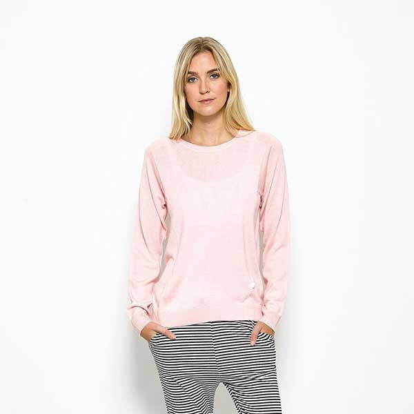 Five Each / Contrast Knit Crew - Pink