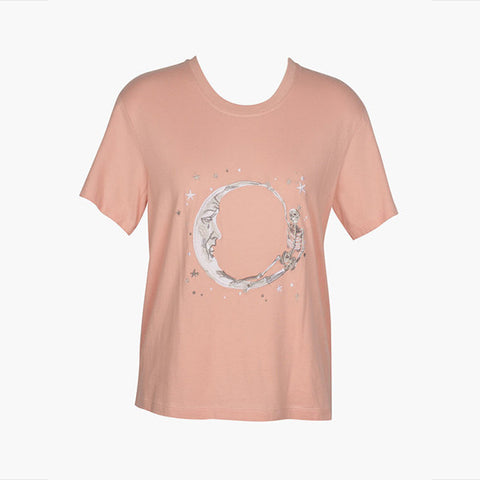 Lonely Paper Moon Tee (embroidered) - Blush