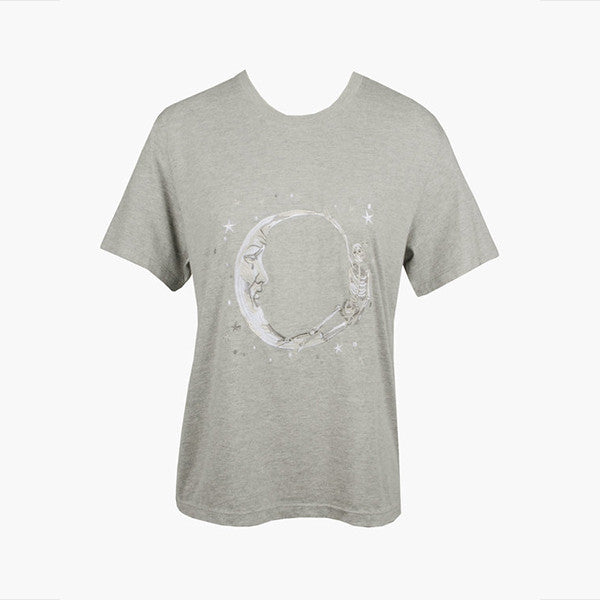 Lonely Paper Moon Tee (embroidered) - Grey Marle
