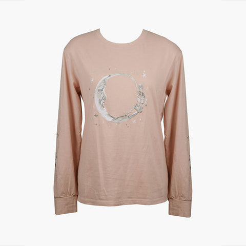 Lonely Paper Moon L/S Tee (embroidered) - Blush