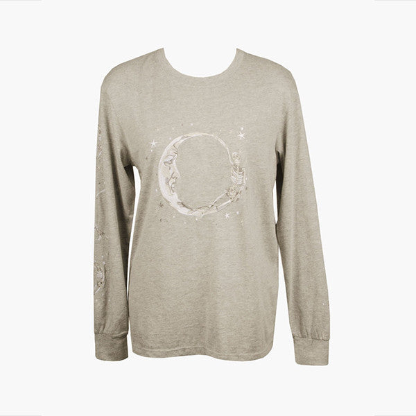 Lonely Paper Moon L/S Tee (embroidered) - Grey Marle