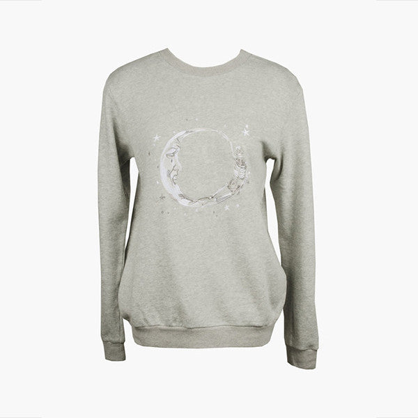 Lonely Paper Moon Crew (embroidered) - Grey Marle