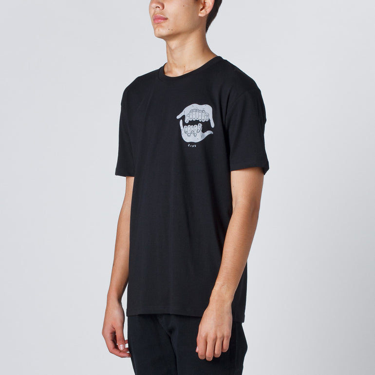Damaged Goods Zine Shaka Tee - Black Mens T Shirt