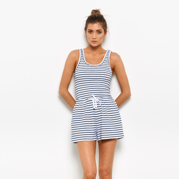 White/Navy Stripe Rib Five Each Classic Rib Tank