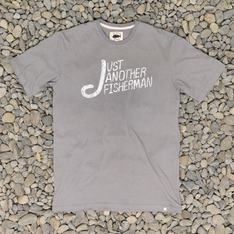 Just Another Fisherman Angled Type Logo Tee - Charcoal