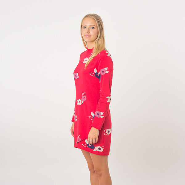 Rollas L/S Bones Dress in Redrose