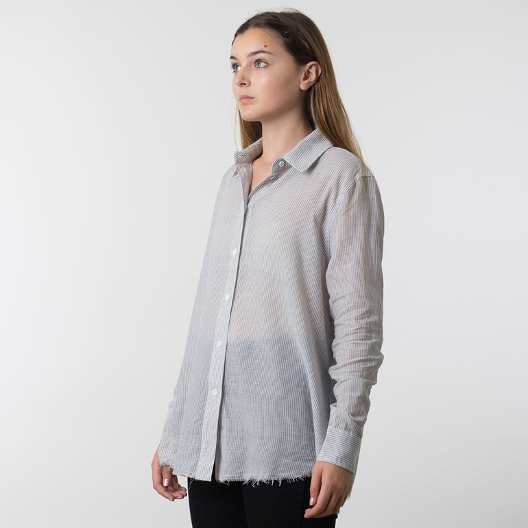 Commoners Deconstructed Boyfriend Shirt in Marle Stripe
