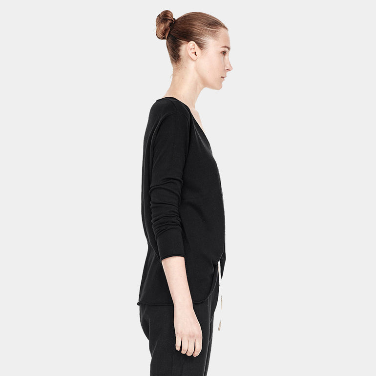 Commoners V Neck L/S Knit in Black