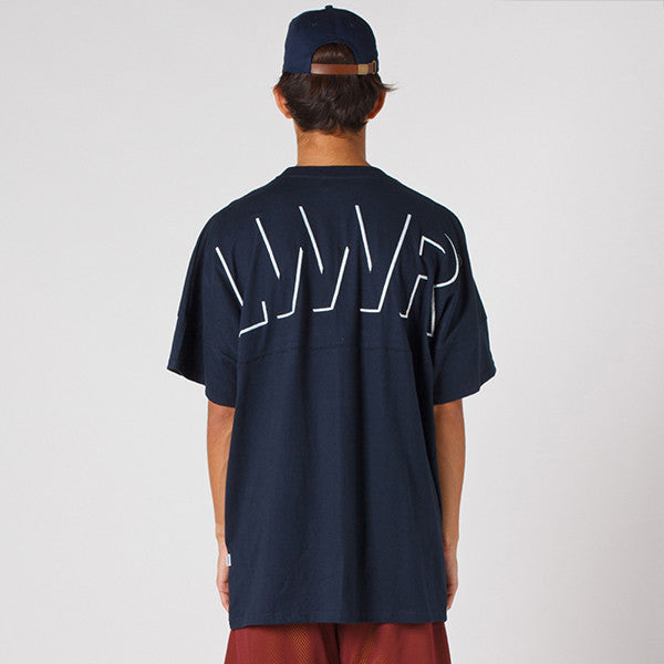 Lower Drop Tee / Offset (Embroidery) in Navy