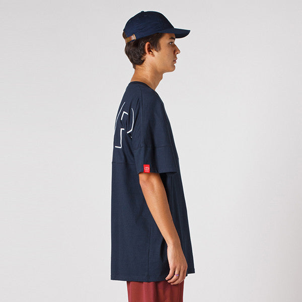 Lower Drop Tee - Offset (Embroidery) / Navy