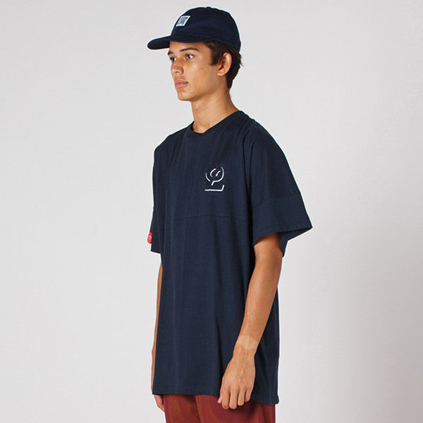 Lower Drop Tee / Offset (Embroidery) - Navy