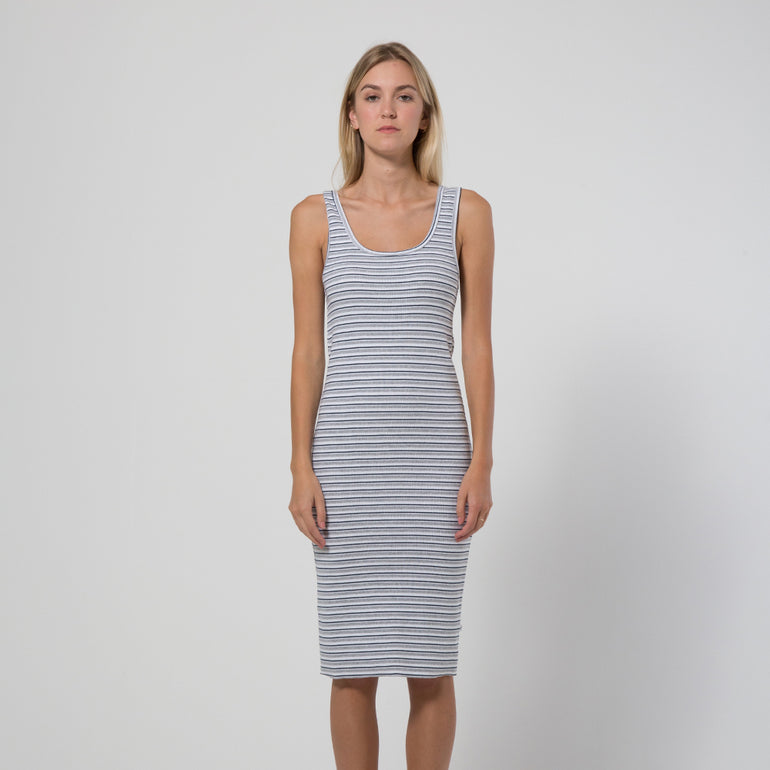 Five Each Classic Rib Dress - Stripe