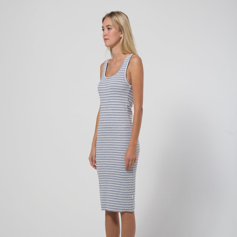Five Each Classic Rib Dress in Stripe