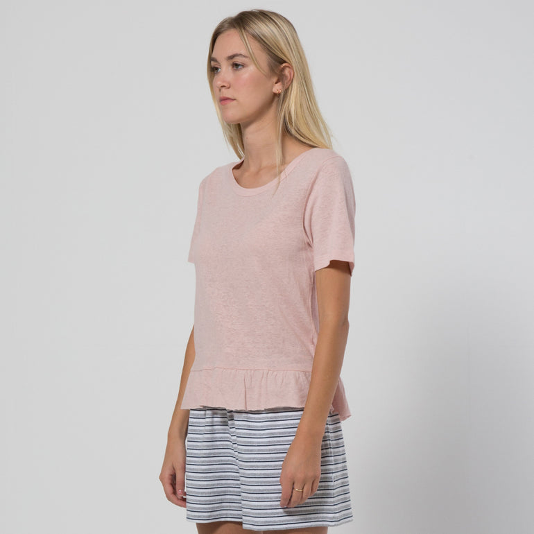 Five Each Frill Hem Tee in Blush