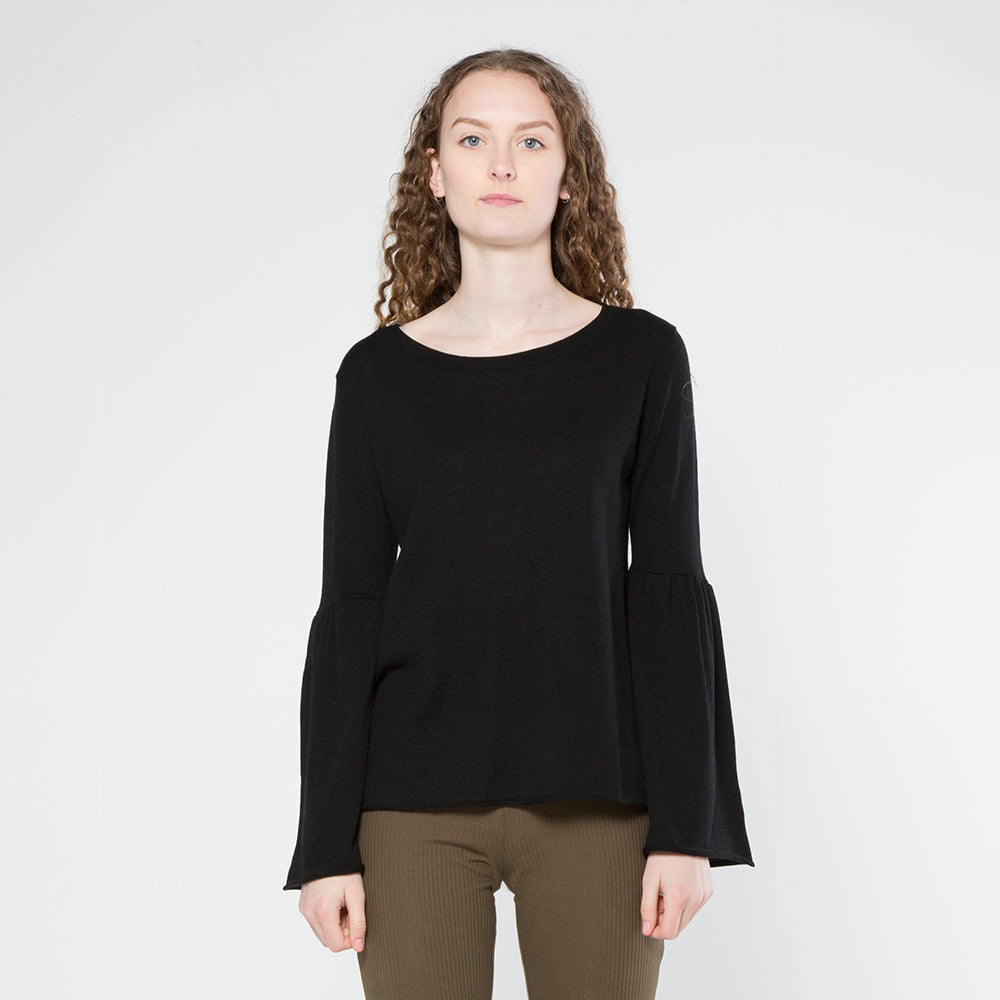 Five Each Frill Sleeve Knit - Black