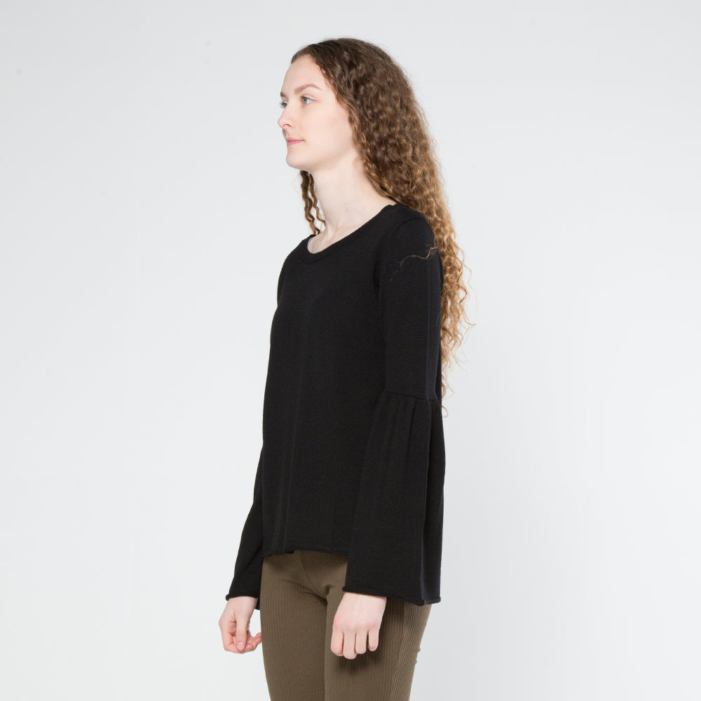 Five Each Frill Sleeve Knit in Black