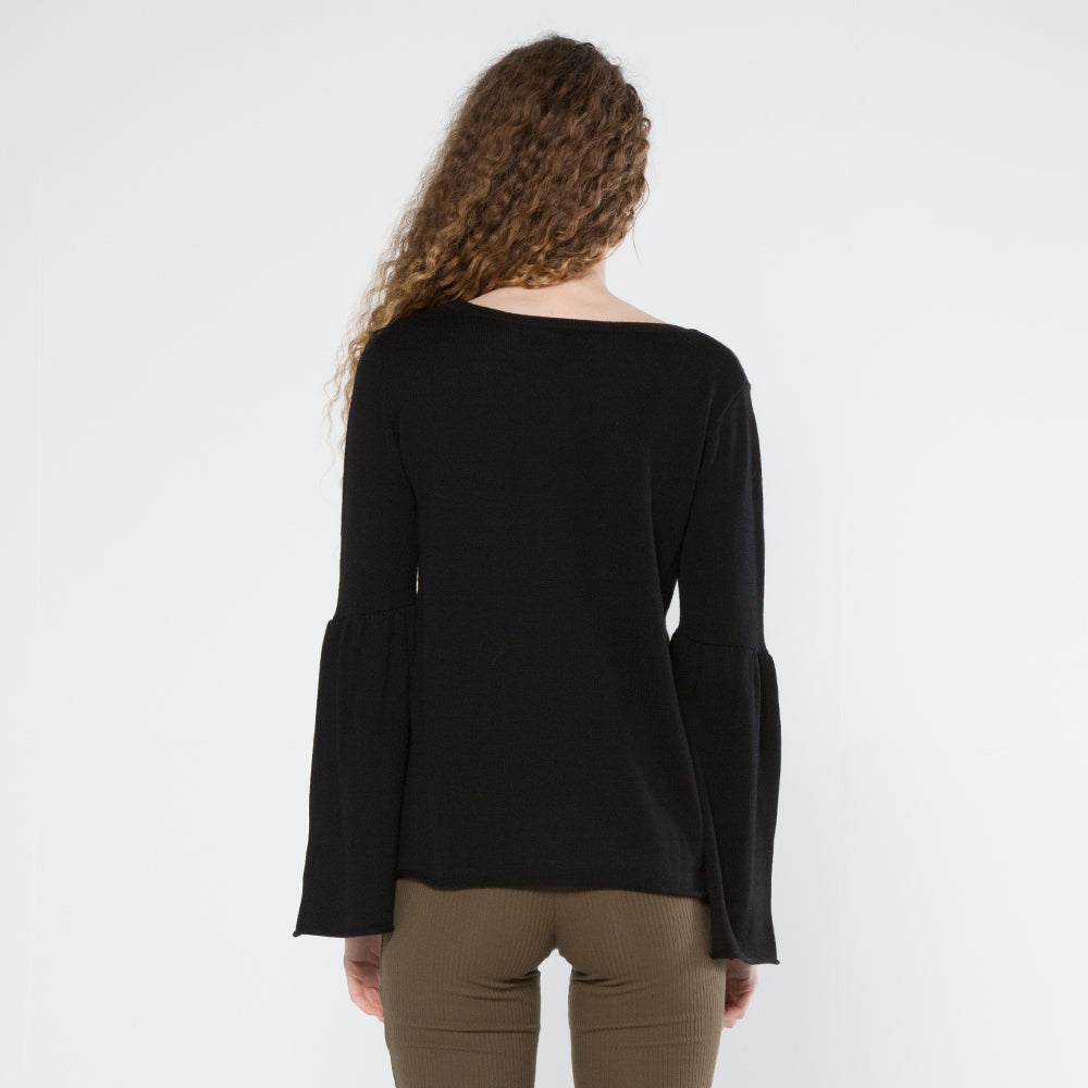 Five Each Frill Sleeve Knit Black