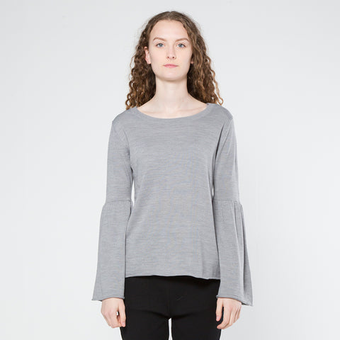 Five Each Frill Sleeve Knit - Grey Marle