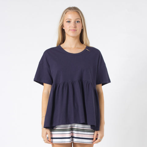 Five Each Waist Frill Tee - Navy