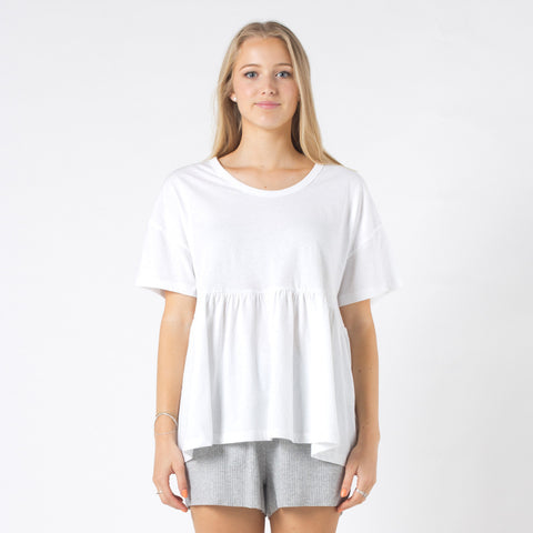 Five Each Waist Frill Tee - White