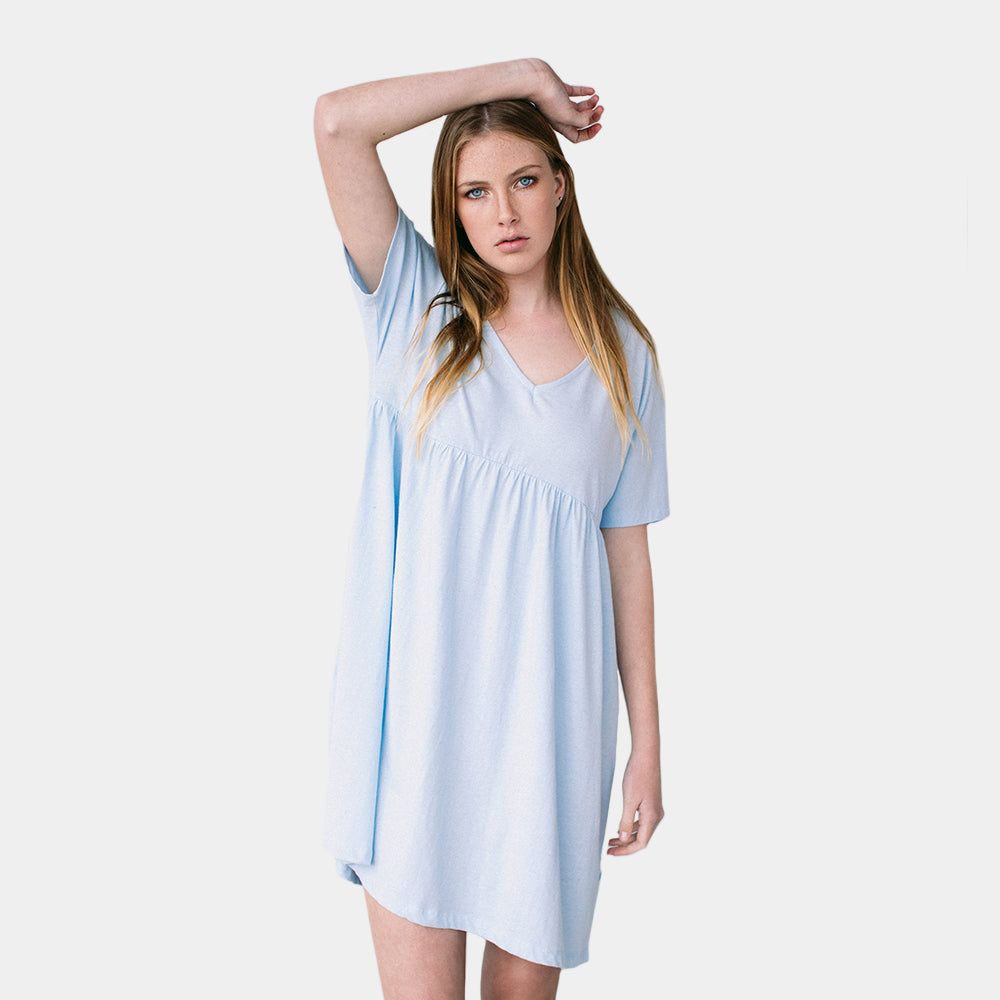 Five Each V Front Frill Dress (Light Blue)