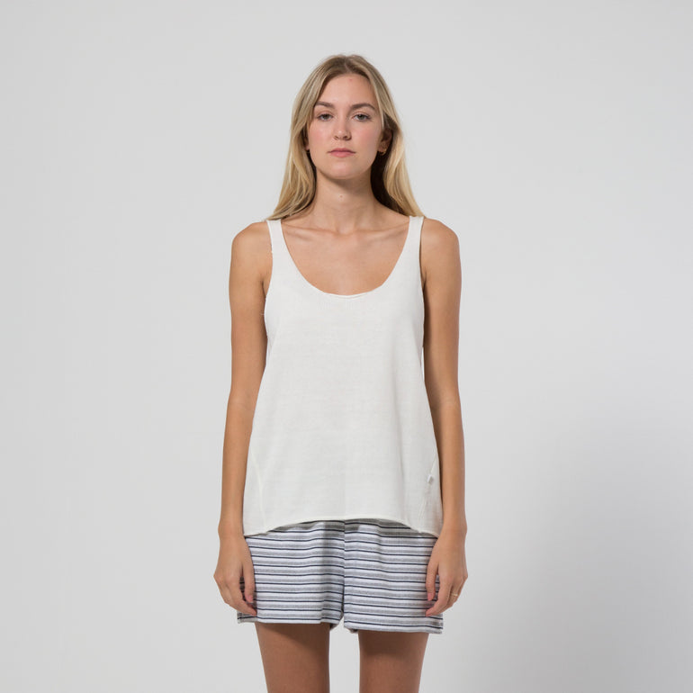 Five Each Rib Hem Knit Tank - Cream