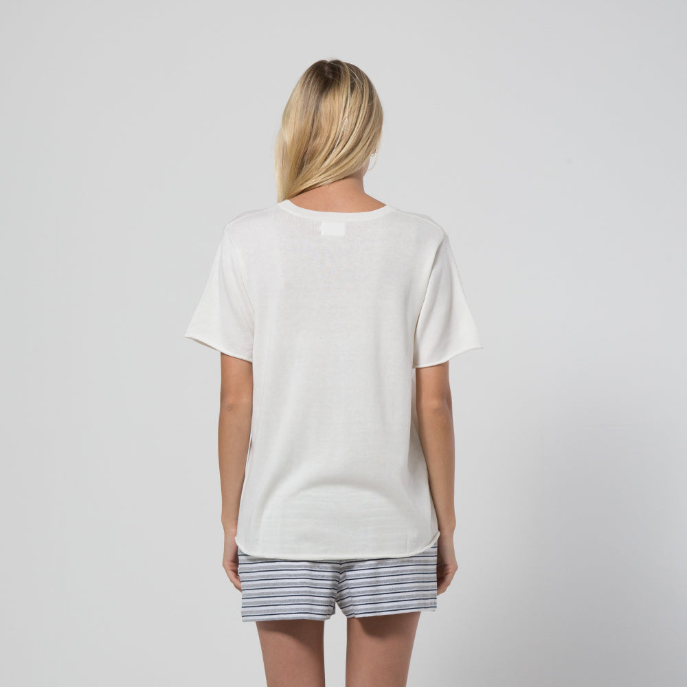 Five Each Hem Knit Tee Cream