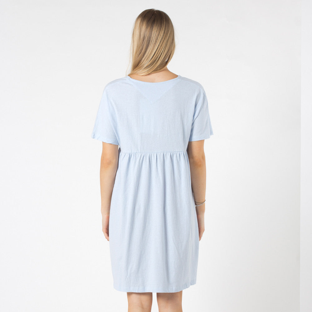 Five Each V Front Frill Dress Light Blue