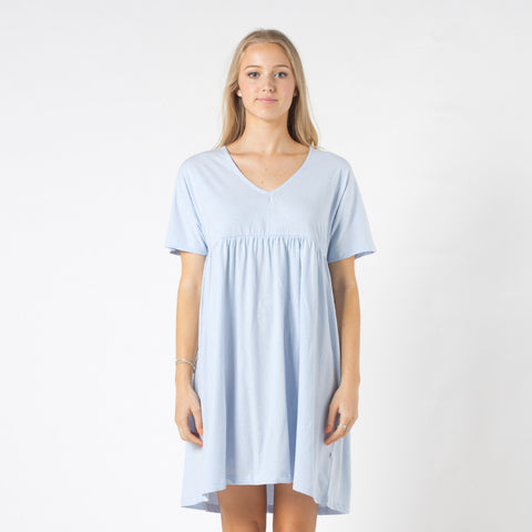 Five Each V Front Frill Dress - Light Blue