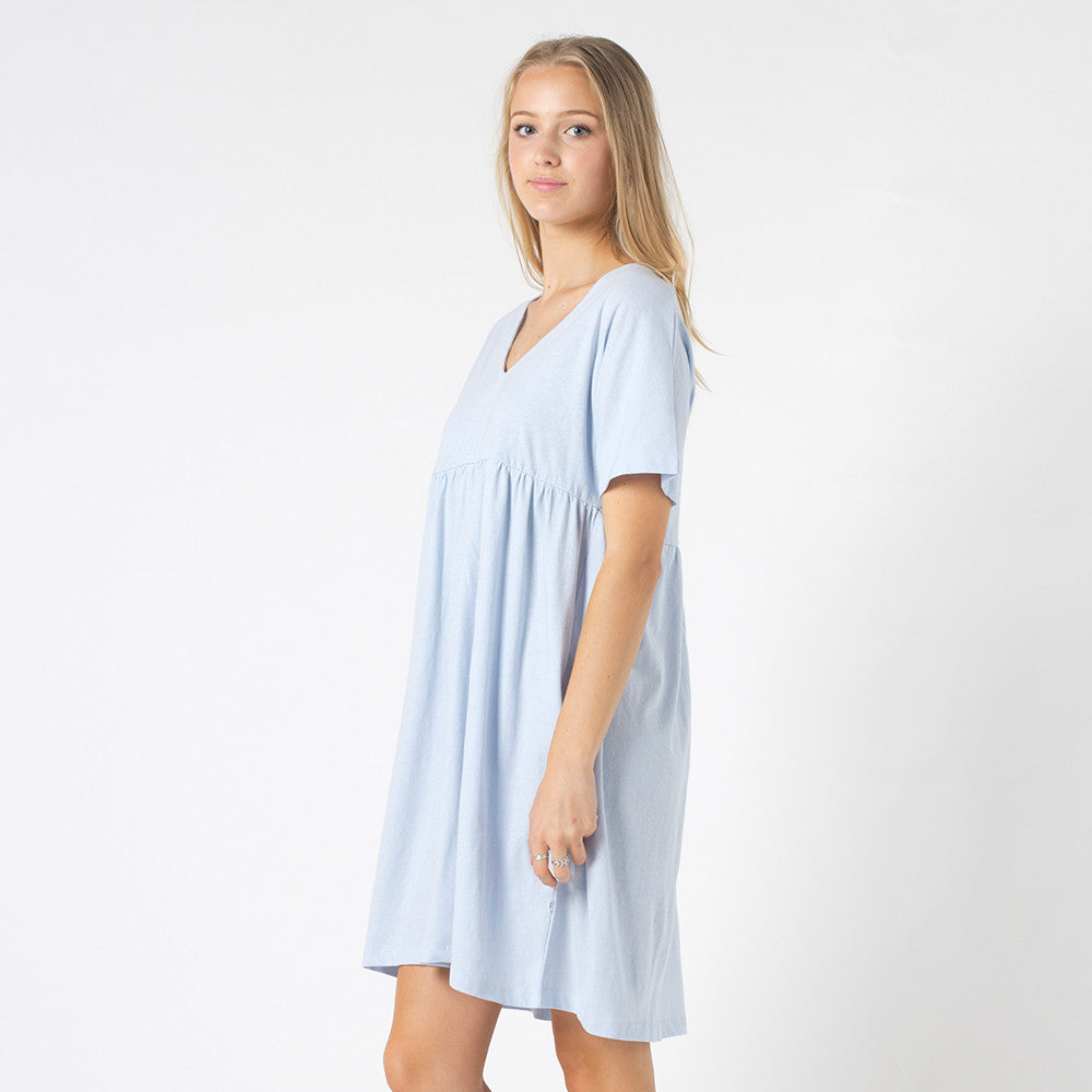 Five Each V Front Frill Dress in Light Blue