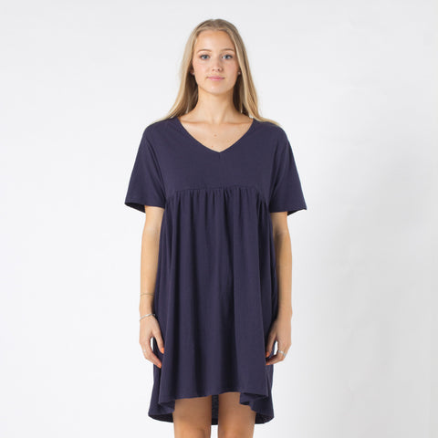 Five Each V Front Frill Dress - Navy