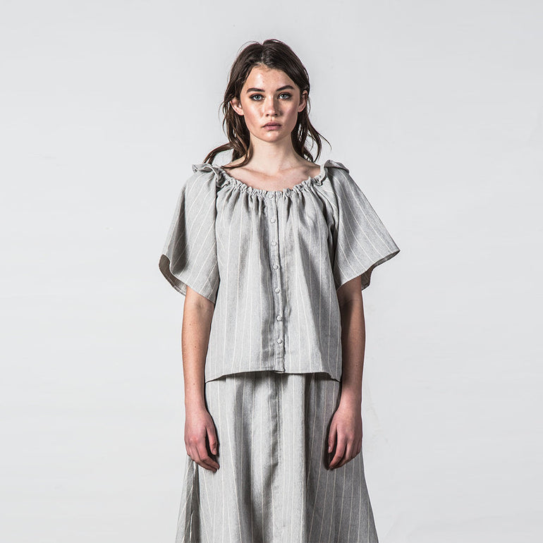 Thing Thing Heathers Top in Grey Stripe