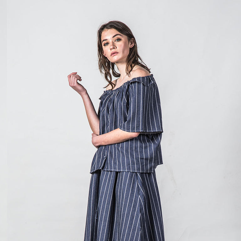 Thing Thing Heathers Top in Navy Stripe