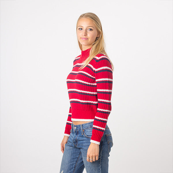 Rollas Saturday Stripe Sweater in Red
