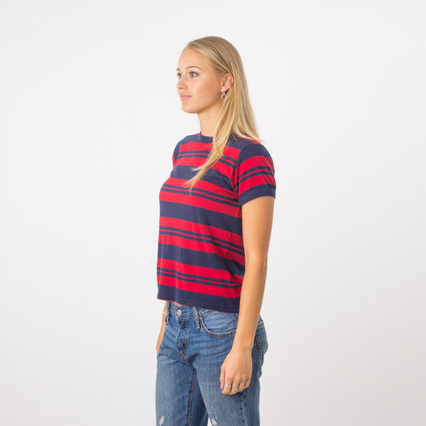 Rollas Stripe Miller Tee in Redstripe