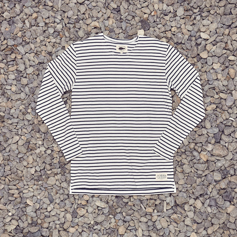 Just Another Fisherman Dockage L/S Tee - Navy/Ecru
