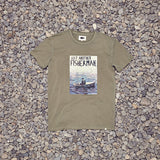 Just Another Fisherman Man In A Dingy Tee - Khaki