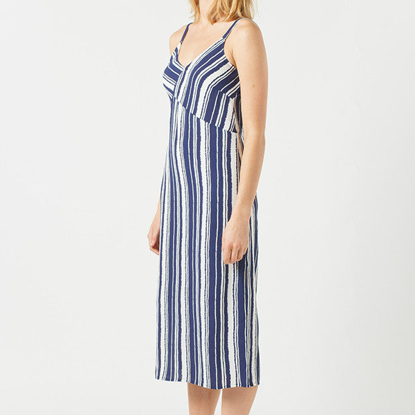 Now & Then / Karen Slip Dress in Navy/White Stripe