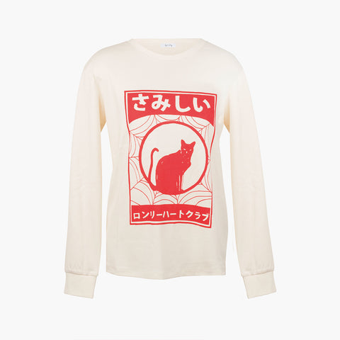 Lonely Cat L/S Tee - Ivory/Red